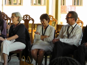 Key Partners (L-R):  Julia Marton-Lefèvre, Director General, International Union for Conservation of Nature (IUCN); Monique Barbut, Executive Secretary, United Nations Convention to Combat Desertification (UNCCD); Martin Frick, Chair, Initiatives for Land, Lives and Peace. during an informal conversation with young participants and interns.