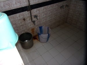 The shower, aka a bucket and cold water!