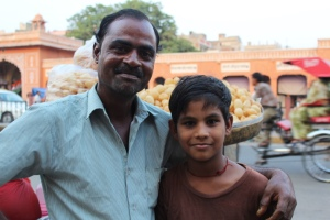 A street vendor and his son in Jaipur, Rajasthan.