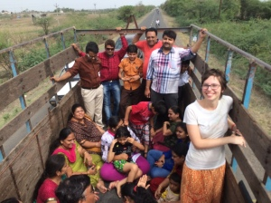 A trip with a few Jain families on a truck in Gujarat.