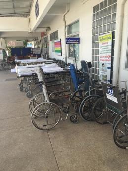 Beds and Wheelchairs outside Bang Rakam Hospital