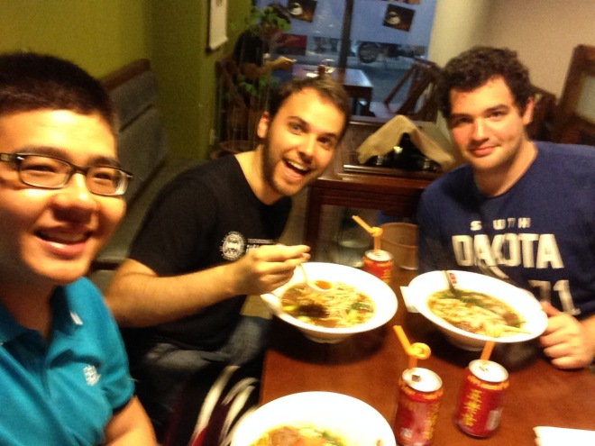 From the left, me, Alex and Svet. They seem to enjoy Chinese food, here we are having some Taiwanese Noodles