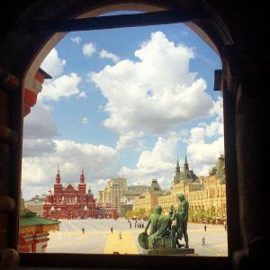The Red Square from inside St Basils Cathedral - there is a policy parade going on outside
