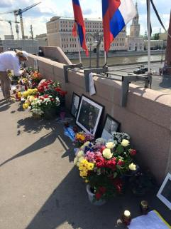 On a bridge in Moscow where the main opposition leader was assassinated.