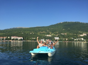 Time to relax and enjoy the beautiful surroundings with a lovely pedalo ride on Ohrid lake.