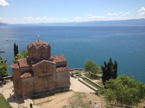 The church of St. John at Kaneo, a typical byzantine style church, which overlooks Lake Ohrid. This is one of the oldest and deepest lakes in Europe at a staggering 300m deep and three million years old.