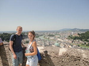 Viewing Salzburg from the Castle terrace.