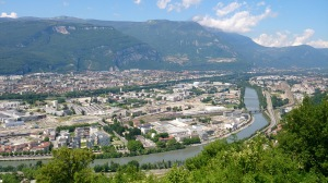 The European Synchrotron (ESRF) and The Institut Lau-Langevin (ILL) can been seen nestled between L'Isere and Le Drac rivers in the upper right of the picture.