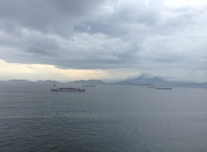 View of shipping boats from the western coast of HK Island