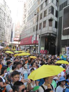 Protest continuing through Causeway Bay shopping district, a site of occupation during the Umbrella Movement of last fall