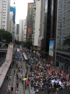 Birdseye view of the July 1st protest, progressing through Wan Chai district