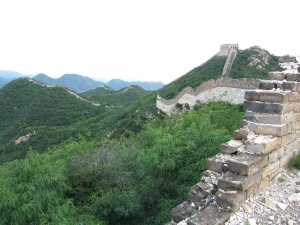 An unreserved section of the Great Wall of China.