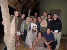Some of the research assistants and the Rangers on the last night in Balule.